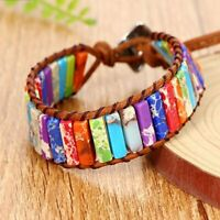 7 Chakra Healing Chakra Bracelet Tube Beads Leather Wrap Bangle Natural Stone