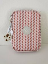 New Kipling 100 Pens Pencil Case Cosmetic Pouch Zest Pink