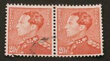 Stamp 2x Belgique 20F Poortman Leopold III Pale Orange Good Condition