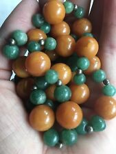 51g Baltic Amber Bead Necklace Butterscotch EggYolk Spinach Green Jade Antique
