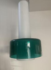 Vintage Scandinavian White And Green Glass Light Pendant