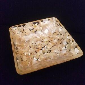 "Vintage Seashells Shells Broken in Lucite Resin Square Bowl Dish 6"" x 6"" x 2"""