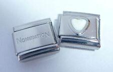 WHITE HEART 9mm Italian Charm + 1x Genuine Nomination Classic Link I LOVE YOU