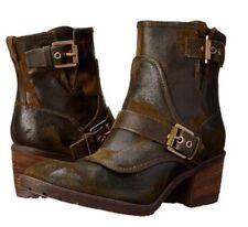 New Donald J Pliner Delta Espresso Brown Leather Ankle Biker Boots  6.5 328$