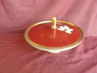 Mitterteich Bonboniere Ø 17cm Porzellandose antik Vintage Gold Rot Porcelain Box