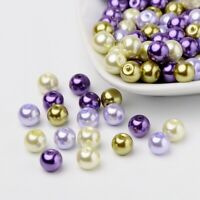8mm Lavender Garden Mix Pearlized Glass Pearl Beads Round Mixed Color