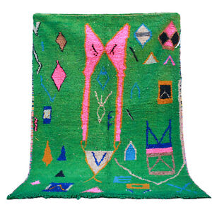 Vintage Moroccan Handmade Beni Ourain rug Boujad Azilal carpet 5.3 FT X 8 FT rug