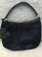 Margot Blue NWT Pebbled Leather & Calf Hair Hobo Shoulder Bag Satchel Purse