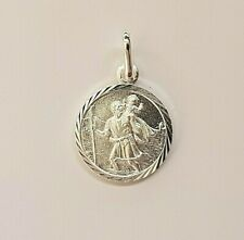 Genuine Solid 925 Sterling Silver St Christopher Pendant 12 mm Optional Chain