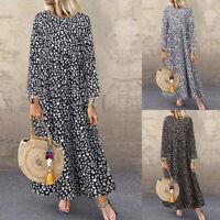 Damen Leopard Print Kleid A-Linie Kleid O Neck Langarm Lose Maxikleid Partykleid