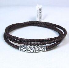 David Yurman Men's Chevron Triple Wrap Bracelet Black Leather Silver Medium New