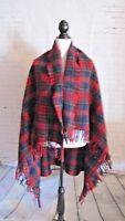 Pendleton 47 X 57 Lap Blanket Red Green Blue Tartan Plaid Wool Vintage Throw