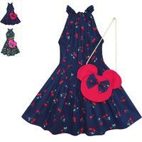 Girls Dress Cherry Fruit Print Cotton With Cute Handbag Blue Size 4-8