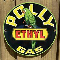 "VINTAGE  POLLY ETHYL GASOLINE PORCELAIN SIGN USA GAS PUMP PLATE PARROT OIL 12"""