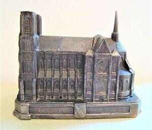 Vintage Metal Miniature Model of Reims Cathedral France