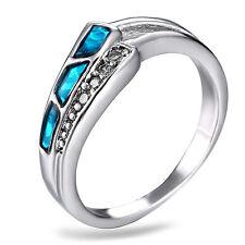 Hot Blue Fire Opal tortoise Women Jewelry Gemstone Silver  Ring Size 8 RM02