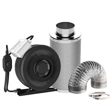"""VIVOSUN 4"""" inch Inline Duct Fan w/ Controller Air Carbon Filter 8' Ducting Combo"""