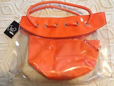 CHEZ by CHERYL TANGERINE PATENT LEATHER AND CLEAR TOTE