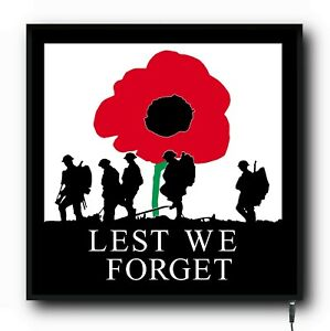 LEST WE FORGET Truck Cab 24/12v Interior LED Light Illuminated sign Board lorry