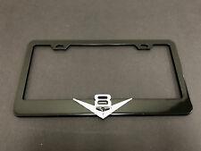 """1pc 3D """"V8"""" Black Metal License Plate Frame Holder"""
