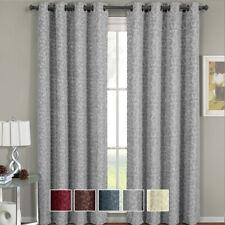 2PC Fiorela Woven Jacquard Window Curtain Set  Floral Grommet Panels