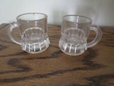 Vintage (2) Shot Glass Toothpick Holder Mini-Mug by Federal  Clear Glass