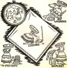 Vtg Embroidery iron on Transfer 3635 Mexican Girl for Dish Towels Potholder