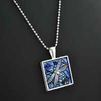 BLUE DRAGONFLY Insect Spring Garden Glass Tile Pendant Silver Necklace Jewelry