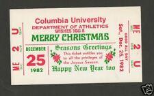 Columbia University Athletics Depart Xmas Greeting Card