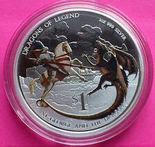2012 Tuvalu Plata San Jorge Y Dragón $1 Un Dollar Moneda De Prueba Caja + certificado De Autenticidad