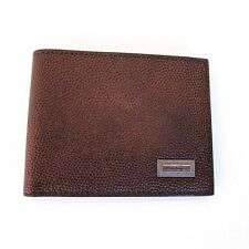 J-2724153 New Salvatore Ferragamo Pebble Brown Credit Card Leather Bifold Wallet