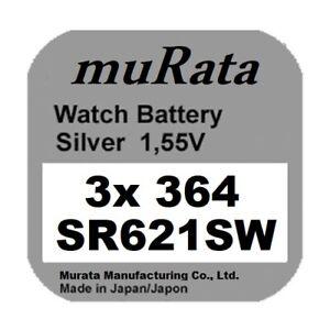 3x Murata/Sony 364 Uhren-Batterie Knopfzelle SR621SW AG1 Silberoxid Blister Neu