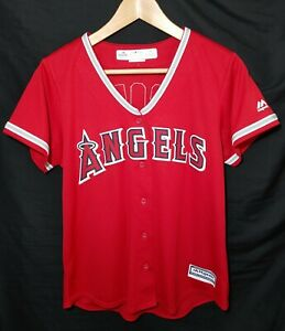 NEW Women's Majestic Anaheim Angels MLB Mike Trout Baseball Jersey Size Large