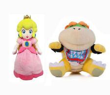 Super Mario Koopa Bowser Jr. and Princess Peach Soft Plush Toy Stuffed Doll 1Set