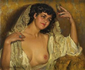 JOSÉ CRUZ HERRERA . Magnífico Óleo lienzo Firmado Gran Retrato femenino desnudo