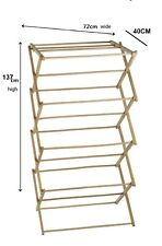 4 Tier Classic Vintage Traditional BAMBOO WOOD Folding Clothes Airer Horse
