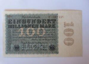 Geldschein  Einhundert  Millionen Mark Reichsbanknote 12 V-161438   1923 ♥ (13G)