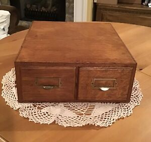 Vintage Library Card Catalog ~ 2-Drawer ~ Weis ~ Oak