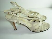 WOMENS TAN BEIGE BONE NUDE LEATHER AMANO SANDALS SLINGBACK HEELS SHOES SIZE 9 N