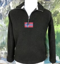 Napapijri Mens Thick Fleece Jacket Sherpa Zip Neck Pullover Deep Pile Flag XS
