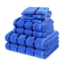 Luxury 8 PC Thick Soft Pure Cotton Towels Bathroom Gift Set Jumbo Sheet Bale Royal Blue