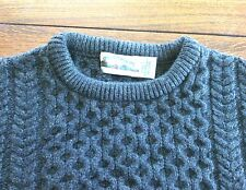 Aran Crafts Men's Sweater 100% Wool Crewneck Fisherman Green Size L Chunky Knit