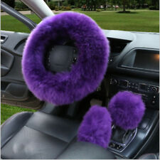 Long Plush Warm Steering Wheel Cover Woolen Handbrake Car Accessory Auto Fur