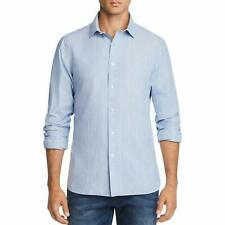 The Men's Store Grid-Print Broadcloth Slim Fit Shirt Blue M