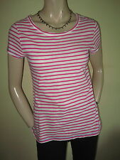 Crew Clothing ~ Pink & White Striped Short Sleeved Scoop Neck T Shirt Top Size 8