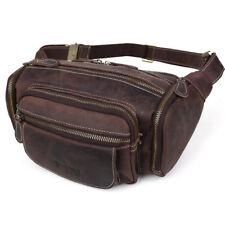 Vintage Leather Men Work Bum Waist Fanny Pack Shoulder Bag Travel Sling Backpack