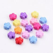 200pcs Mixed Color Solid Color Flower Acrylic Beads Jewelry Findings 8.5x9x4mm