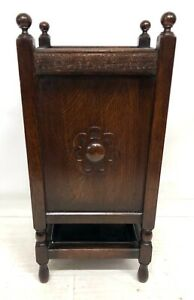 Antique Oak Four Section Stick Stand / Umbrella Stand / Walking Stick Stand