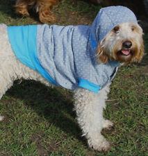 Dog coat hoodie 20-40cm small- xlarge dogs, thick cotton grey with blue dots NEW