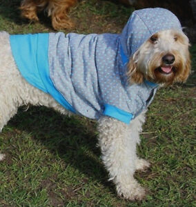 Dog coat hoodie 20-40cm small- xlarge dogs, quality cotton grey w blue dots NEW